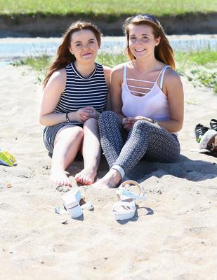 Picture - Kevin Scott  / Belfast Telegraph  Wednesday 10th June 2015 - Weather Pics    Pictured is Nina Conlon and Naomi King during the warm weather at Helens Bay in co Down    Picture - Kevin Scott  / Belfast Telegraph