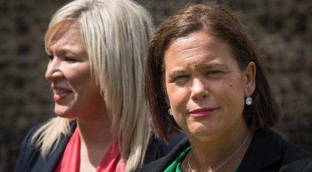 Sinn Fein's Michelle O'Neil and Mary Lou McDonald outside the Palace of Westminster (Stefan Rousseau/PA)