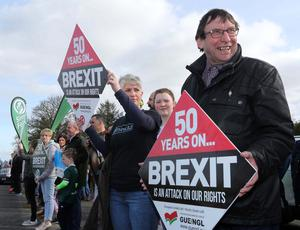 Press Eye - Belfast - Northern Ireland - 30th March 2019 -  Photo by Lorcan Doherty / Press Eye Border Communities Against Brexit protest at the border crossing between Derry and Donegal at Bridgend.  Donegal Councillor Albert Doherty.
