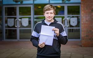 William Johnston From Hazel Wood Integrated as he receives GCSE results on August 24th 2017 (Photo by Kevin Scott / Belfast Telegraph)