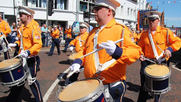 COLERAINE Drumming in orange at Coleraine Twelfth.PICTURE MARK JAMIESON.