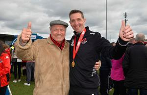 Stephen Baxter celebrates Crusaders' back-to-back league titles with dad George in 2016.