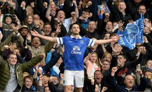 Everton's Kevin Mirallas celebrates scoring their second goal during the Barclays Premier League match at Goodison Park, Liverpool.