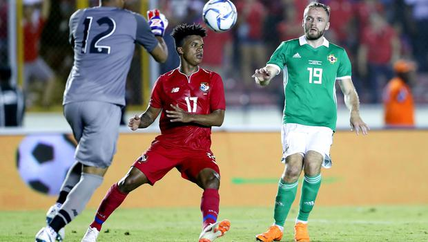 Press Eye - Belfast -  Northern Ireland - 29th May 2018 - Photo by William Cherry/Presseye  Panama's Jose Calderon and Luis Ovalle with Northern Ireland's Ryan McLaughlin during Wednesday nights International Friendly at the Estadio Rommel Fernandez, Panama City.