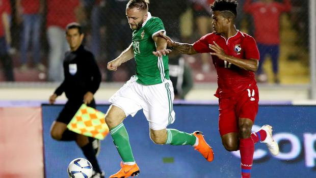 Press Eye - Belfast -  Northern Ireland - 29th May 2018 - Photo by William Cherry/Presseye  Panama's Luis Ovalle with Northern Ireland's Ryan McLaughlin during Wednesday nights International Friendly at the Estadio Rommel Fernandez, Panama City.