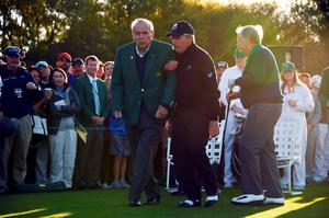 Honorary starters US golfer Arnold Palmer (L), South Africas Gary Player (C) and Jack Nicklaus of the US arrive to begin Round 1 of the 80th Masters Golf Tournament at the Augusta National Golf Club on April 7, 2016, in Augusta, Georgia.  / AFP PHOTO / Jim WatsonJIM WATSON/AFP/Getty Images