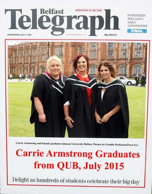 Mandatory Credit - Picture by Freddie Parkinson/Press Eye ? Wednesday 8th July 2015 Graduations Queen University Belfast. Carrie Armstrong and friends from Belfast graduated at Queens University Belfast in Social Work.