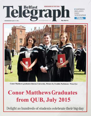 Mandatory Credit - Picture by Freddie Parkinson/Press Eye ? Wednesday 8th July 2015 Graduations Queen University Belfast. Conor Matthews from Guernsey graduated at Queens University Belfast in Sociology.