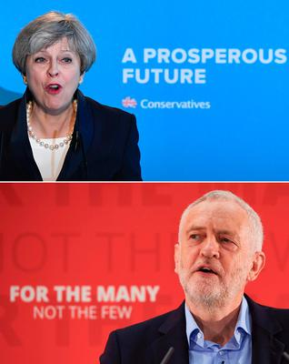 (FILES) A combination of pictures created in London on May 31, 2017 shows Britain's Prime Minister Theresa May (top) speaking during an event to launch the Conservative Party general election manifesto in Halifax in northern England on May 18, 2017 and Britain's main opposition Labour Party Jeremy Corbyn (bottom) delivering a general election campaign speech on leadership in London on April 29, 2017.  Britain goes to the polls to vote in a general election on June 8. / AFP PHOTO / Ben STANSALL AND Niklas HALLE'NBEN STANSALL,NIKLAS HALLE'N/AFP/Getty Images
