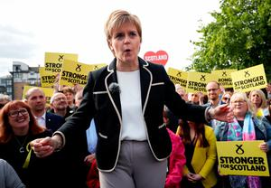 First Minister and SNP leader Nicola Sturgeon speaks during an event at the Malmaison Hotel in Edinburgh while on the last day of campaigning for the General Election. PRESS ASSOCIATION Photo. Picture date: Wednesday June 7, 2017. See PA story ELECTION Main. Photo credit should read: Jane Barlow/PA Wire