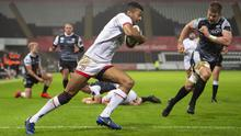 Robert Baloucoune of Ulster Rugby runs in a try. Credit: INPHO/Alex James
