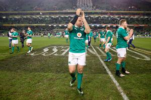 Ireland's captain Rory Best applauds the fans after the Autumn International match at the Aviva Stadium, Dublin. PRESS ASSOCIATION Photo. Picture date: Saturday November 26, 2016. See PA story RUGBYU Ireland. Photo credit should read: Brian Lawless/PA Wire. RESTRICTIONS: Editorial use only, No commercial use without prior permission