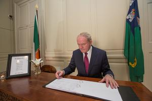 Northern Ireland Deputy First Minister Martin McGuinness signing a book of condolence at the Mansion House following the deaths of the young Irish students in the Berkeley tragedy.  Pic:Mark Condren 19.6.2015