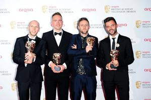 Left to right. Mark Talbot, Heydon Prowse, Jolyon Rubinstein and Joe Wade winners of the Best Comedy Programme Award for The Revolution will be Televised, at the 2013 Arqiva British Academy Television Awards at the Royal Festival Hall, London. PRESS ASSOCIATION Photo. Picture date: Sunday May 12, 2013. See PA story SHOWBIZ Bafta. Photo credit should read: Ian West/PA Wire