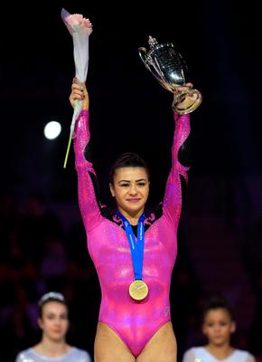Claudia Fragapane wins the WAG Senior All-Round title during the Artistic Gymnastics British Championships 2016 at the Echo Arena, Liverpool. PRESS ASSOCIATION Photo. Picture date: Saturday April 9, 2016. See PA story GYMNASTICS Liverpool. Photo credit should read: Nigel French/PA Wire. RESTRICTIONS: EDITORIAL USE ONLY, NO COMMERCIAL USE WITHOUT PRIOR PERMISSION, PLEASE CONTACT PA IMAGES FOR FURTHER INFO: Tel: +44 (0) 115 8447447.