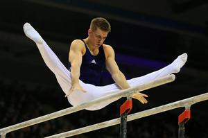 Max Whitlock on the parallel bars during the Artistic Gymnastics British Championships 2016 at the Echo Arena, Liverpool. PRESS ASSOCIATION Photo. Picture date: Saturday April 9, 2016. See PA story GYMNASTICS Liverpool. Photo credit should read: Nigel French/PA Wire. RESTRICTIONS: EDITORIAL USE ONLY, NO COMMERCIAL USE WITHOUT PRIOR PERMISSION, PLEASE CONTACT PA IMAGES FOR FURTHER INFO: Tel: +44 (0) 115 8447447.