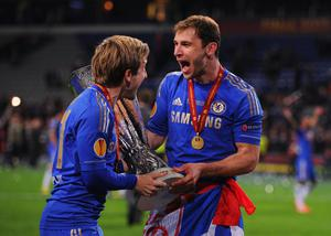 AMSTERDAM, NETHERLANDS - MAY 15: Marko Marin of Chelsea and Branislav Ivanovic of Chelsea celebrate with the trophy during the UEFA Europa League Final between SL Benfica and Chelsea FC at Amsterdam Arena on May 15, 2013 in Amsterdam, Netherlands.  (Photo by Michael Regan/Getty Images)