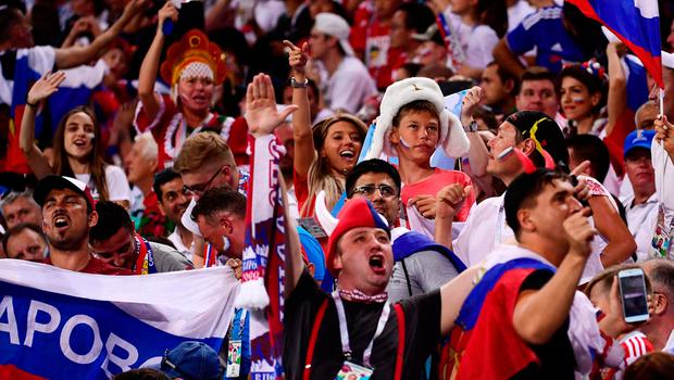 Russia fans cheer during the Russia 2018 World Cup quarter-final football match between Russia and Croatia at the Fisht Stadium in Sochi on July 7, 2018. / AFP PHOTO / PIERRE-PHILIPPE MARCOU / RESTRICTED TO EDITORIAL USE - NO MOBILE PUSH ALERTS/DOWNLOADS PIERRE-PHILIPPE MARCOU/AFP/Getty Images