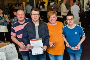 Pacemaker Press Intl 150819  Pupils at Lagan College celebrate their A Level results today.  This year was Lagan's best year ever with students receiving a 10% rise in grades. Pictured is Twins Jack & Thomas Scott with Mum & Dad celebrating their results . Photo David McCormick/Pacemaker Press