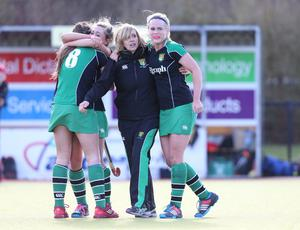 ?Press Eye Ltd - Northern Ireland - 4th March 2015. Mandatory Credit - Photo by Andrew Paton/Presseye.com. The Belfast Telegraph Senior Schools Cup Final - Sullivan Upper v Banbridge at Lisnagarvey Hockey Club. Sullivan players celebrate at the end of the game