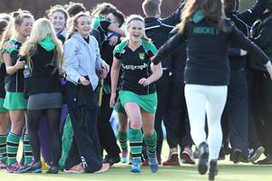 ?Press Eye Ltd - Northern Ireland - 4th March 2015. Mandatory Credit - Photo by Andrew Paton/Presseye.com. The Belfast Telegraph Senior Schools Cup Final - Sullivan Upper v Banbridge at Lisnagarvey Hockey Club. Katharine Hill of Sullivan celebrates at the end of the game