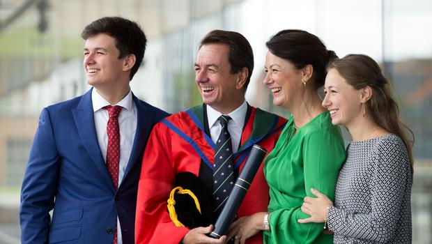 ITV News' international correspondent, John Irvine, received the honorary degree of doctor of Letters (DLitt) in recognition of his outstanding contribution to journalism. (Photo: Nigel McDowell/Ulster University)