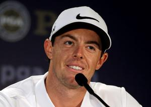 Rory McIlroy, of Northern Ireland, speaks to the media during a news conference before a practice round for the PGA Championship golf tournament at Valhalla Golf Club on Tuesday, Aug. 5, 2014, in Louisville, Ky. The tournament is set to begin on Thursday. (AP Photo/Jeff Roberson)