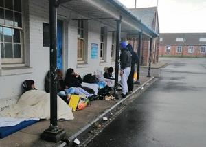 Asylum seekers on a sleep-out protest at Napier Barracks in Folkestone, Kent (Care4Calais/PA)