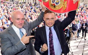 Barry McGuigan and Carl Frampton at a homecoming event in Belfast after the Jackal won his IBF super-bantamweight world title. Credit: Arthur Allison/Pacemaker Press