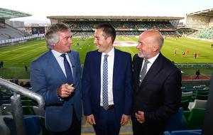 Press Eye - Belfast -  Northern Ireland - 27th May 2016 - Photo by William Cherry  Sports Minister Paul Givan MLA pictured at the National Stadium, Windsor Park with Northern Ireland Legends Pat Jennings and Sammy McIlroy. The Minister wished the Northern Ireland team every success as they continue their preparations for the European Championship Finals in France.