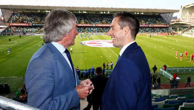 Press Eye - Belfast -  Northern Ireland - 27th May 2016 - Photo by William Cherry  Sports Minister Paul Givan MLA pictured at the National Stadium, Windsor Park with Northern Ireland Legend Pat Jennings. The Minister wished the Northern Ireland team every success as they continue their preparations for the European Championship Finals in France.