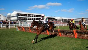 Douvan ridden by Ruby Walsh jumps on the way to winning the Sky Bet Supreme Novices' Hurdle, on Champion Day