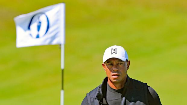 Tiger Woods on the 8th Green during preview day one of The Open Championship 2019 at Royal Portrush Golf Club. PRESS ASSOCIATION Photo. Picture date: Sunday July 14, 2019. See PA story GOLF Open. Photo credit should read: Niall Carson/PA Wire. RESTRICTIONS: Editorial use only. No commercial use. Still image use only. The Open Championship logo and clear link to The Open website (TheOpen.com) to be included on website publishing.