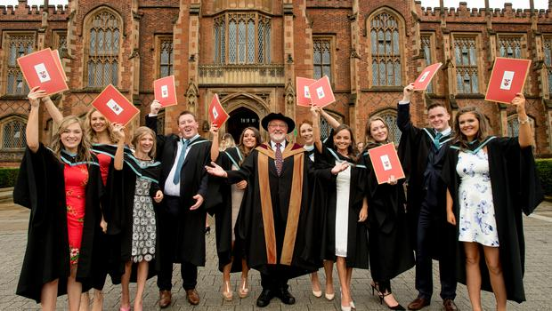 Graduands from Stranmillis University College of Queens University Belfast celebrate having graduated with a degree in Primary Education. Pictured L-R are: Students Alison Lynas, Claire Rattray, Emily Alexander, Jason Price, Kathryn Cloughley, Lecturer Dr Noman Richardson, Louise McNamee, Rachel McKinley, Erin Curry, Paddy Joe McComiskey and Olivia Rue