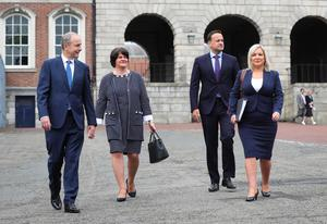 First Minister Arlene Foster and deputy First Minister Michelle O'Neill with Taoiseach Micheál Martin and Tánaiste Leo Varadkar pictured at the meeting of the North South Ministerial Council at Dublin Castle. Photo by Kelvin Boyes / Press Eye.