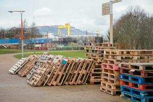 Bonfire material spread across a section of the Greenway in East Belfast on March 10th 2017  (Photo - Kevin Scott  / Belfast Telegraph )
