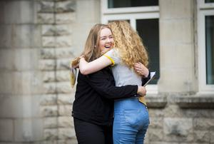 A-Level results day 2016 - Megann Morelli . Shauna Armstrong and Molly McAleenan of St Dominic's on the 18th August 2016, Belfast , Northern Ireland ( Photo by Kevin Scott / Belfast Telegraph )