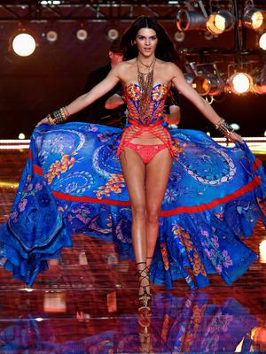 NEW YORK, NY - NOVEMBER 10:  Model Kendall Jenner from California walks the runway during the 2015 Victoria's Secret Fashion Show at Lexington Avenue Armory on November 10, 2015 in New York City.  (Photo by Dimitrios Kambouris/Getty Images for Victoria's Secret)