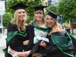 Graduating from Ulster University today are Gemma Kelly, Tyrone, Ruth Elliott, Tyrone and Amy Brown, Saintfield Pic by Harrison Photography