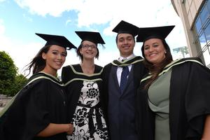 HARRISON PHOTOGRAPHY - BELFAST - 1st July 2016 Graduating from Ulster University today with a degree in Accountancy are Ciara McConville, Bryony Gray,  Connor Duncan and Louise McClurg