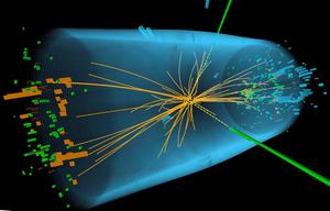 An undated handout graphic distributed on July 4, 2012 by the European Organization for Nuclear Research (CERN) in Geneva shows a representation of traces of a proton-proton collision measured in the Compact Muon Solenoid (CMS) experience in the search for the Higgs boson. The world's largest particle smasher restarted on April 5, 2015, after a two-year upgrade that will allow physicists to explore uncharted corners of the matter that makes up the universe. Experiments at the collider have been seeking to unlock clues as to how the universe came into existence by studying fundamental particles, the building blocks of all matter, and the forces that control them. AFP/Getty Images