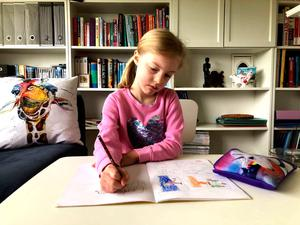 Work and play: Lisa's daughter Grace