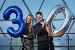 Stuart Robinson and Katharine Walker celebrating Cool FM's 30th Birthday in February