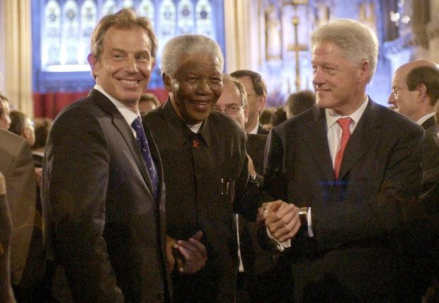 File photo dated 02/07/03 of British Prime Minister Tony Blair, former South African President Nelson Mandela and former US President Bill Clinton attending a gala night to mark the centenary of the Rhodes Trust and the establishment of the Mandela Rhodes Foundation, at Westminster. Former South African leader Nelson Mandela has died at the age of 95, the country's president, Jacob Zuma, said tonight. PRESS ASSOCIATION Photo. Issue date: Thursday December 5, 2013. See PA story DEATH Mandela. Photo credit should read Chris Young/PA Wire