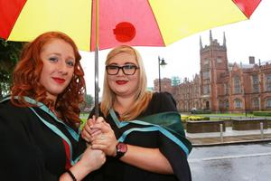Edel Neeson from Moneyglass and Rachel Stinson from Coleraine graduating from Queen's University in Computer Information Technology.