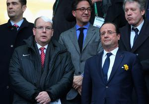 Francois Hollande, President of France with Albert II, Prince of Monaco during the RBS Six Nations match between France and Ireland at Stade de France on March 15, 2014 in Paris, France.  (Photo by Julian Finney/Getty Images)