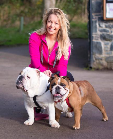 Gemma Garrett out walking her dogs Stella (Brown) and Buddy (White) on February 14, 2016