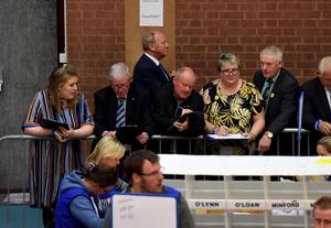 TUV Leader Jim Allister pictured at the election count at Seven Towers Leisure Centre Ballymena for North Antrim and Mid Ulster. Photo by Stephen Hamilton  / Press Eye.