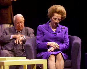 File photo dated 24/10/2000 of former Conservative Prime Ministers Sir Edward Heath and Baroness Thatcher check their watches as they listen to the debate at the Conservative Party Conference annual conference in Bournemouth.  Baroness Thatcher died this morning following a stroke, her spokesman Lord Bell said. PRESS ASSOCIATION Photo. Issue date: Monday April 8, 2013. See PA story DEATH Thatcher. Photo credit should read: PA/PA Wire