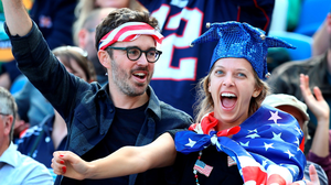 USA fans cheer on their team during the Rugby World Cup match at the Brighton Community Stadium, Brighton. PRESS ASSOCIATION Photo. Picture date: Sunday September 20, 2015. See PA story RUGBYU Samoa. Photo credit should read: Gareth Fuller/PA Wire. RESTRICTIONS: Editorial use only. Strictly no commercial use or association without RWCL permission. Still image use only. Use implies acceptance of Section 6 of RWC 2015 T&Cs at: http://bit.ly/1MPElTL Call +44 (0)1158 447447 for further info.